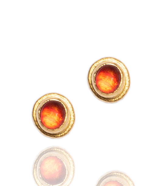 Ara Mexican Fire Opal and 24K Gold Post Earrings