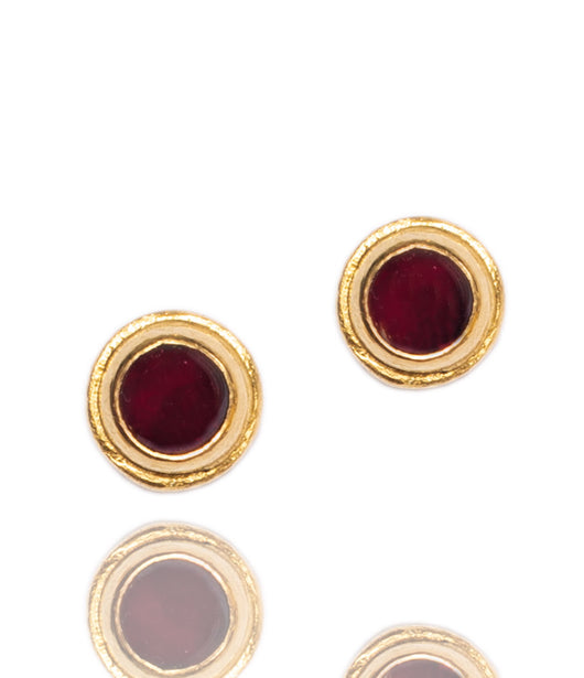 Ara Garnet and 24K Gold Post Earrings