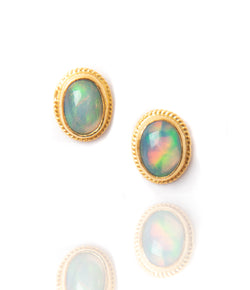 Ara Ethiopian Opal and 24kt Gold Post Earrings