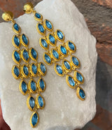 Ara Blue Topaz and 24kt Gold Chandelier Earrings