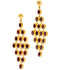 Ara 24K Ruby Chandelier Earrings
