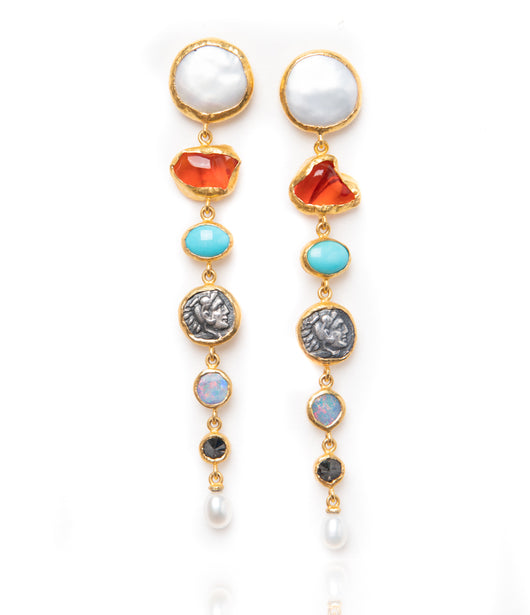 Ara Multi-Stone Dangle Earrings with 24kt Gold