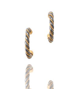 Ara 24kt Gold and Oxidized Sterling Silver Twist Hoop