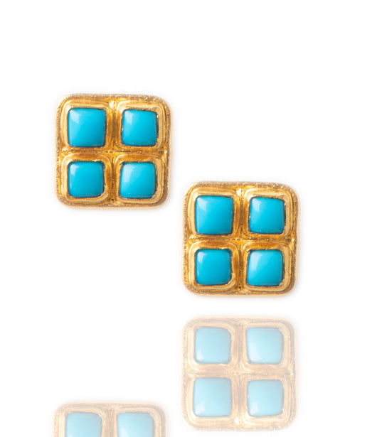 Ara 24kt Gold and Turquoise Square Earrings