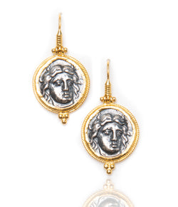 Ara Silver Coin Replica and 24kt Gold Circle Drop Earrings