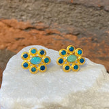 Ara Opal and 24kt Gold Flower Stud Earrings