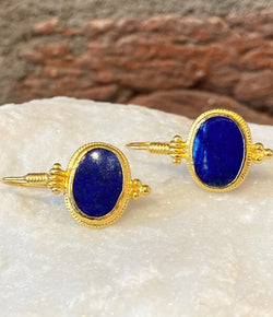 Ara Oval Lapis and 24kt Gold Drop Earrings