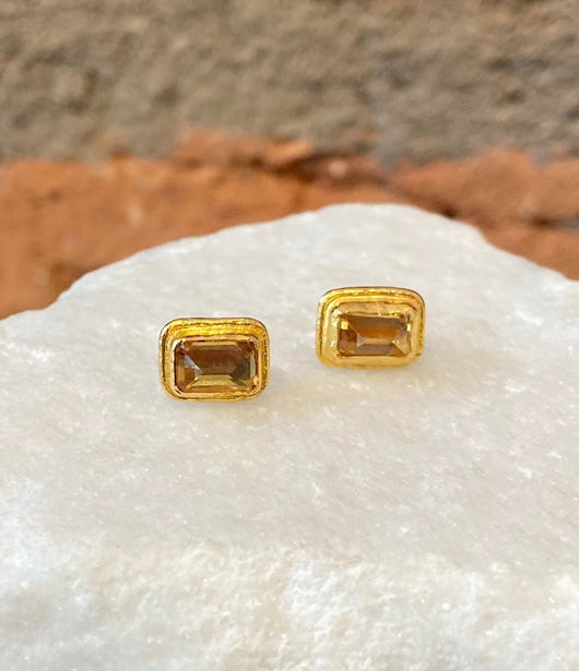 Ara Square Citrine and 24kt Gold Post Earrings