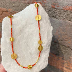 Ara Coral and 24kt Gold Disc Necklace