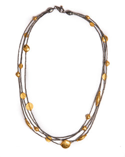 Ara 4 Strand 24kt Gold and Oxidized Sterling Silver Necklace