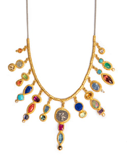 Ara Semi-Precious Stone and 24kt Gold Statement Necklace