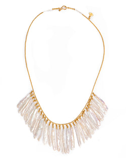 Ara Pearl and 24kt Gold Dangle Collar Necklace
