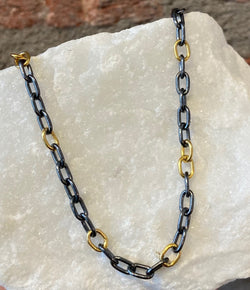 Ara 24kt Gold and Oxidized Silver Chain
