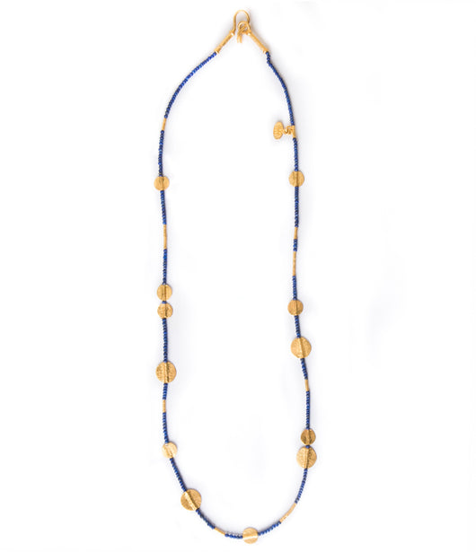 Ara Lapis and 24kt Gold Disc Necklace