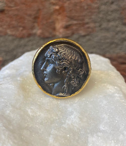 Ara Silver Coin Replica and 24kt Gold Ring