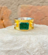 Ara Emerald Center Stone and 24kt Gold Ring