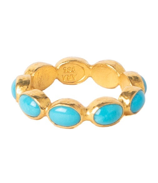 Ara Turquoise and 24kt Gold Eternity Band