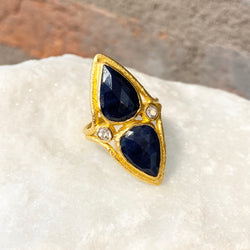 Ara Blue and White Sapphire Pear Shaped Ring