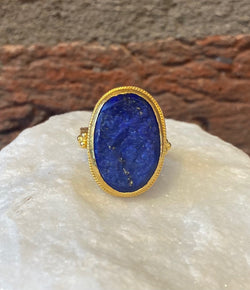 Ara Raw Lapis and 24kt Gold Ring