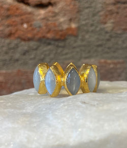 Ara Moonstone and 24kt Gold Eternity Band