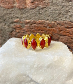 Ara Coral and 24kt Gold Eternity Band