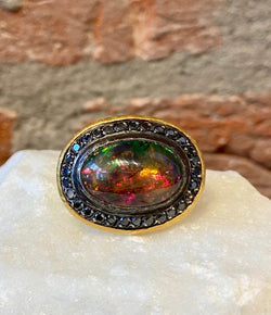 Ara Dark Opal, Black Diamond and 24kt Gold Ring