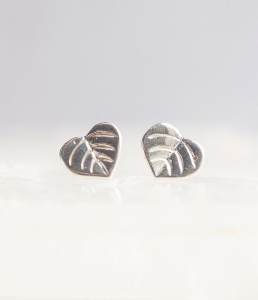 Bristol and Cole Small Aspen Leaf Silver Stud Earrings