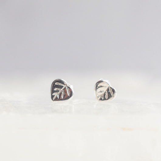 Bristol and Cole X-Small Aspen Leaf Silver Stud Earrings