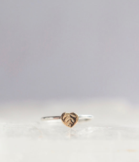 Bristol and Cole Aspen Leaf Gold and Silver Ring