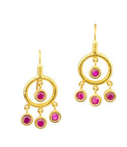 Ara 24K Ruby Drop Earrings