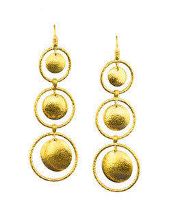 Ara 24K Three-Disc Drop Earrings
