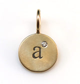 "Heather Moore Yellow Gold ""A"" Round Charm"