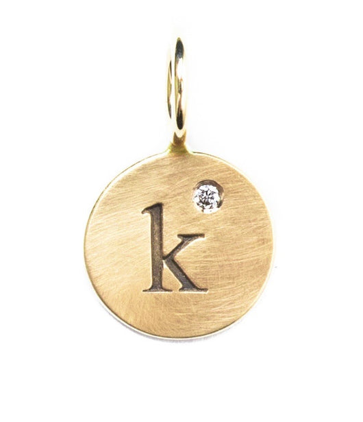 Heather Moore Yellow Gold 'K' Charm with Diamond