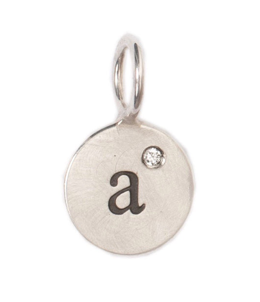 Heather Moore Silver 'A' Charm with Diamond
