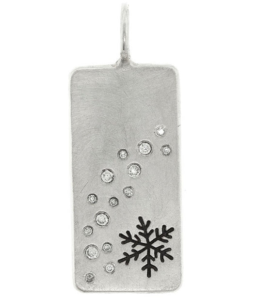 Heather Moore Snowflake and Diamond Sterling Silver ID Tag Charm