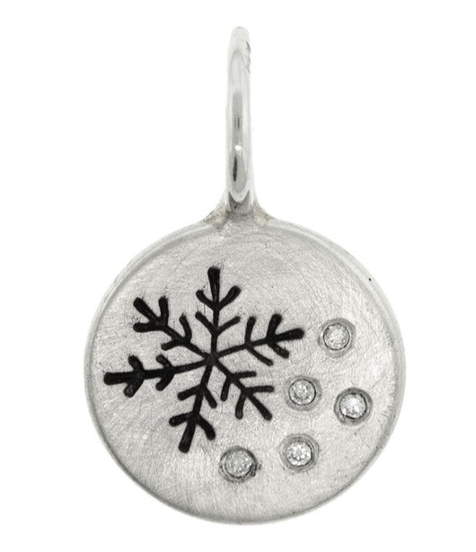 Heather Moore Snowflake and Diamond Round Sterling Silver Charm