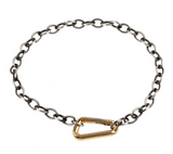 Heather Moore Patina Silver Link Chain with Yellow Gold Carabiner Hinge Bracelet