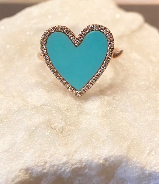 Andi Alyse Turquoise and Diamond Heart Ring