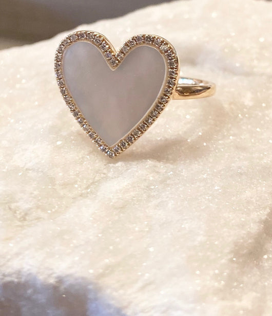 Andi Alyse Mother of Pearl and Diamond Heart Ring