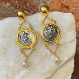 Ara Coin Replica, Pearl and 24kt Gold Dangle Earrings