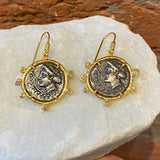 Ara Coin Replica and 24kt Gold Drop Earrings