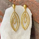 Ara 24kt Gold Marquis Shaped Dangle Earrings