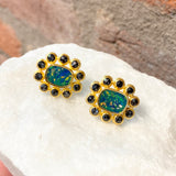 Ara Opal and Black Diamond Flower Stud Earrings