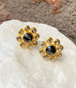 Ara Black and White Diamond Flower Stud Earrings