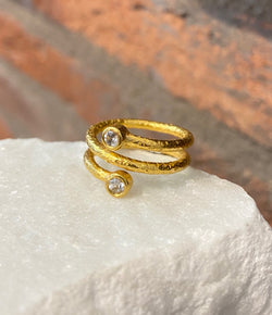 Ara 24kt Gold and White Topaz Spiral Ring