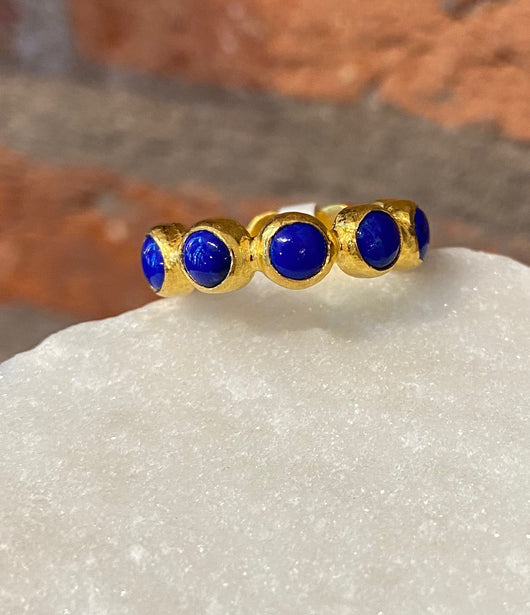Ara Lapis and 24kt Gold Eternity Band