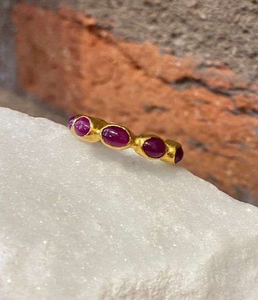 Ara Ruby and 24kt Gold Eternity Band