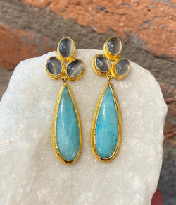 Ara Moonstone and Amazonite Dangle Earrings