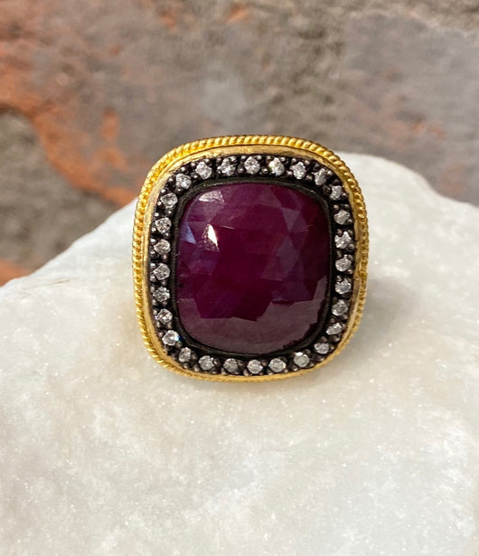 Ara 24kt Gold Faceted Ruby Ring with Pave Diamond Crown