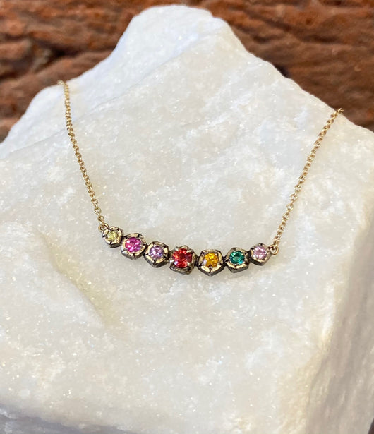 Annie Fensterstock Mixed Metal Rainbow Rock Necklace